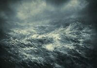 Awesome Stormy Seas Poster Print Size A4 / A3 Ocean Weather Poster Gift #8388