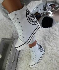 Sneakers  WEDGE HIGH TOP SNEAKERS TRAINERS WHITE @Beige@WHITE&*&*&+)+)+)+