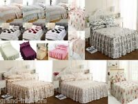 PLAIN QUILTED THROW OVER BEDSPREAD OR FITTED SETS COTTON POLYESTER OR SATIN