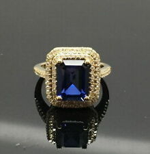18ct Yellow Gold Stunning Natural Violet Tanzanite & Diamond Ring VVS