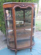 Antique oak curio-china cabinet curved glass