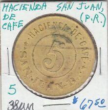(H)  Token - San Juan, PR - Hacienda de Cafe - G/F 5 Cents - 38 MM