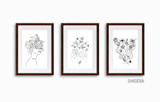 Trendy Line Art Wall Prints Set of 3 Beautiful Floral Minimal Botanical Abstract