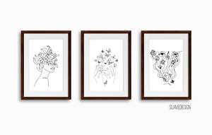 Line Art Wall Prints Set of 3 Beautiful Pot Head Floral Home Decor Print Minimal