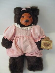 Vintage Robert Raikes Signed Wood Carved Playtime Cookie Bear 11 Inches 1989 Mt