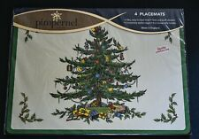 NIP Pimpernel Spode Christmas Tree Hard Placemats, 16x12, Cork Backed, Set Of 4