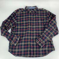 Woolrich Mens Button Down Cotton Flannel Shirt SIze XL Blue Brown Long Sleeve