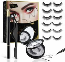 Y.F.M False Eyelashes Kit 6 Pairs, Reusable Eyeliner and Eyelashes Set Age Uk