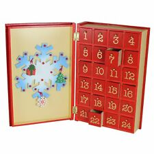Premier Christmas Wooden Advent Calendar - Snowman Book Design - 24 Drawers