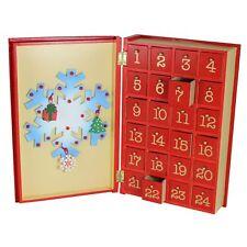 Premier Navidad Madera Calendario Adviento - Muñeco Libro Diseño - 24 Cajones