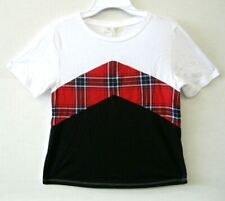 Ultra Flirt Big Girl 👧 Tee Shirt Top NWT White Short Sleeve Size XS Plaid KD609
