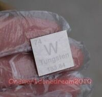 1x 99.95% High Purity Tungsten W 20mm Metal Carved Element Periodic Table Plate