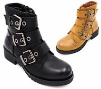 LADIES FAUX LEATHER BUCKLE STRAP BLACK MILITARY ZIP PUNK ANKLE BOOTS SIZE 3-8 UK