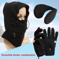 Men Women Winter Thermal Touch Screen Gloves Balaclava Mask Hat Ear Muffs Sport