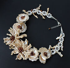 """18""""necklace Coffee MOP shell Coffee FW pearl flower necklace"""