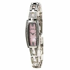 Bulova Pink Mother of Pearl Dial Stainless Steel Quartz Womens Watch 96L208