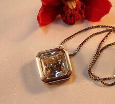 Großer Anhänger mit weißem Stein moderne Halskette 925 Silber / bi 595