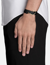 #225  Miansai Men's Black Leather-Gold Plated Hook On Bracelet    $93