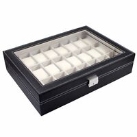 24 Slot Black Leather Watch Box Jewelry Storage Organizer w/ Glass Top Display