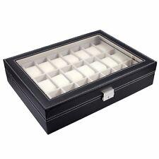 24 Slot Black Leather Watch Box Jewelry Storage Organizer w/ Glass Top Display