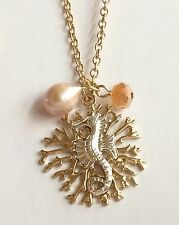 """Gold Pearl Sea Life Seahorse Necklace 30"""" X-Long Island Beach Silver Plated"""
