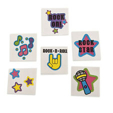 36 Assorted Fun Rock Star Glitter Kids Temporary Tattoos Party Favors