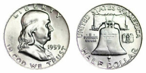 1959 P Franklin Half Dollar % silver