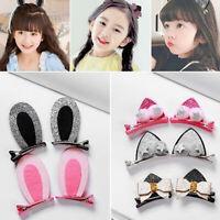 2pcs/Pair Cute Bow Hair Clips For Girls Glitter Flowers Cat Rabbit Ears Hairb xc