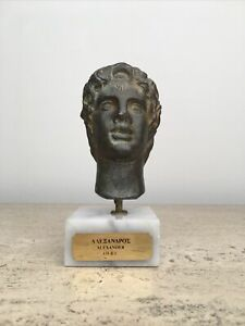 Alexander the Great Metal Bust Sculpture on Marble Ergani Athena Athens Replica