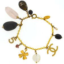 Chanel Gold Tone Cc Logo Crystal Charms No 5 Clover Stone Gems Quartz Bracelet