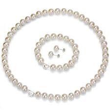 Heart Shape Love Clasp 9-10mm White Real Pearl Necklaces Bracelet Earrings Set