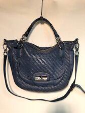 Coach Brown Woven Leather Kristin Handbag Cross-Body Bag 19312 Blue