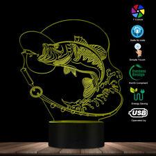 Fishing LED Lighted Sign Fishing Big Fish 3D LED Desk Lamp Fisherman Room Light