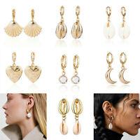 Women Shell Statement Metal Earrings Fashion Gold Boho Dangle Earring Gifts