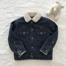 True Religion 2T Jacket Sherpa Denim Jean Dark Navy Blue Toddler Winter Fall