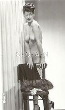 Original Vintage 1940s-50s Nude RP- Older Skinny Woman- Stands by Chair- Fur