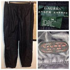 Vtg 90's Lauren Ralph Lauren LRL Men's Shiny Black Wind Pants Sz M RL-67 Pocket