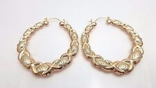 "Gold Tone Bamboo Style Hoop Earrings 2.5"" Door Knocker Big Hoops"