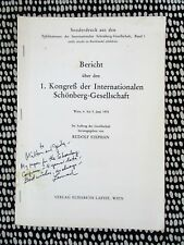 LEONARD STEIN **SIGNED & INSCRIBED** THE SKETCHES OF SCHOENBERG Musicology 1978