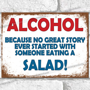 ALCOHOL GREAT STORY Funny Metal Signs Vintage Retro Wall Plaque Joke Tin Sign UK