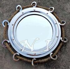 "16"" Hanging Wall Mirror With Jute Rope Aluminium Chrome Finish Porthole Mirror"