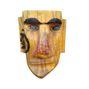 """Tiki Easter Island Face Sculpture Mid Century 14"""" Wood Vintage Tribal Handmade"""