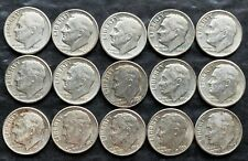 Lot of 15x USA Roosevelt Silver 10 Cent Dimes - Dates: 1946 to 1960