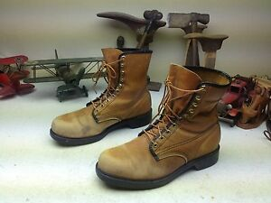 TIMBERLAND TAN GOLD MADE IN USA DISTRESSED ENGINEER PACKER CHORE BOSS BOOTS 11 D