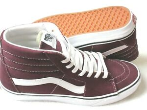 Vans Mens Sk8-Hi Port Royale Red True White Canvas Suede Skate shoes Size 12 NWT