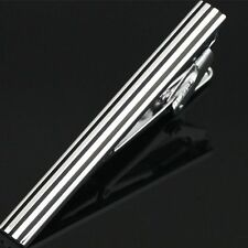 Mens Boys 4CM Tie Bar Silver Black Stripe Skinny Stainless Steel Clip Pin