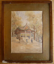 RARE ASIAN, 19th Century Antique painting, landscape, HARUNA watercolor, Asian