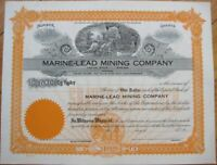 1920 Stock Certificate: 'Marine-Lead Mining Co.' - Montana MT