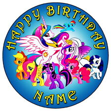 "MY LITTLE PONY FUN THEME PARTY - 7.5"" PERSONALISED EDIBLE ICING CAKE TOPPER"
