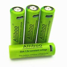 4 Pcs Universal Micro USB Cable Lithium Rechargeable AA Batteries 1.5V 1500mAh